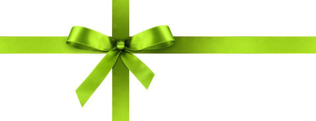 Grüne Geschenkschleife und Geschenkband aus grünem Satin Panorama - Geschenk, Schleife, Band - Isoliert - weißer Hintergrund. Banner Vorlage für Grußkarten und Postkarten