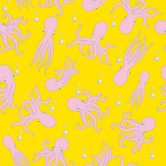 Octopus pattern. Seamless pattern background.