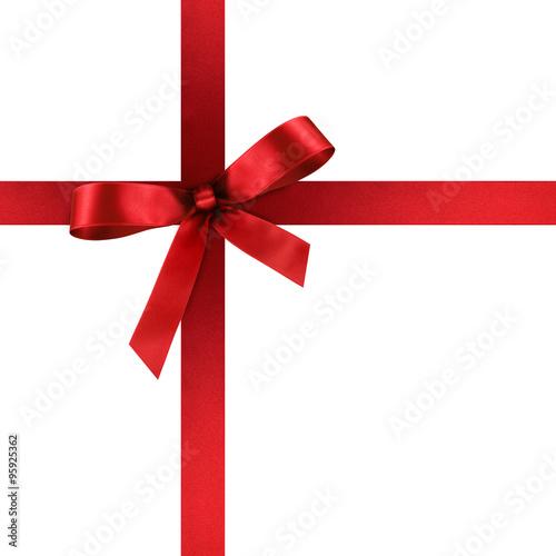 rote geschenkschleife und geschenkband aus rotem satin geschenk schleife band isoliert. Black Bedroom Furniture Sets. Home Design Ideas