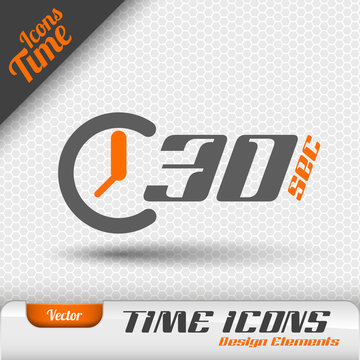 Time Icon 30 Seconds Symbol Vector Design Elements