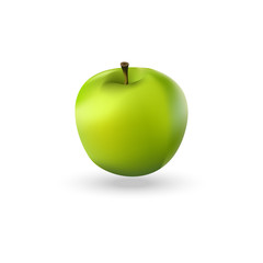 Illustration of green realistic apple. Green apple icon.