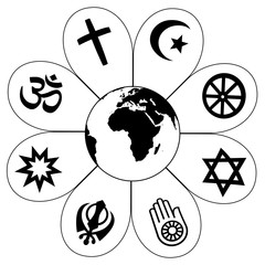 World religions - flower icon made of religious symbols and planet earth in center. Isolated vector illustration on white background.