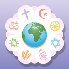 World religions united as petals of a flower - a symbol for religious solidarity and coherence - Christianity, Islam, Buddhism, Judaism, Jainism, Sikhism, Bahai, Hinduism. Vector illustration.