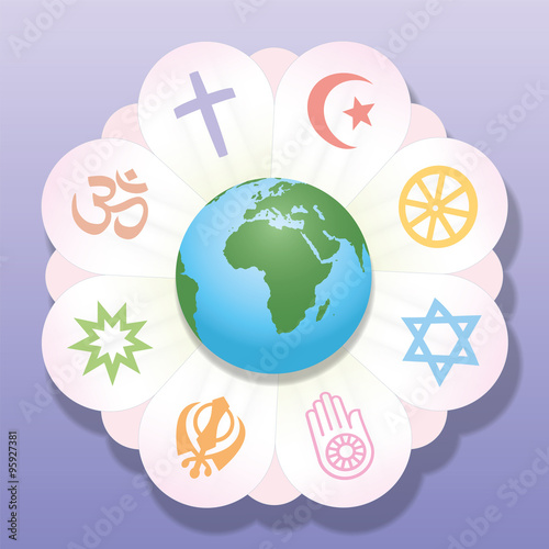 World Religions United As Petals Of A Flower A Symbol For