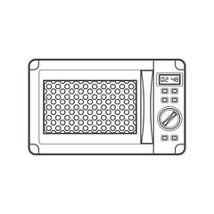 outline black microwave oven illustration.