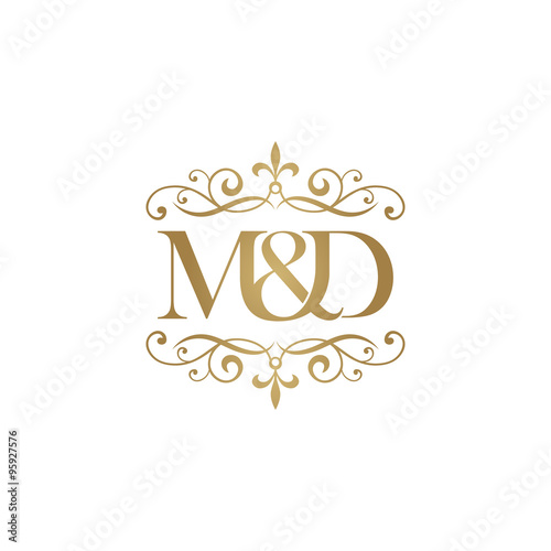 m d initial logo ornament ampersand monogram golden logo stock image and royalty free vector. Black Bedroom Furniture Sets. Home Design Ideas