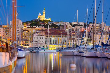 Marseille port at a summer night