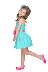 Profile portrait of a happy little girl