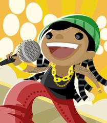 rapero cantante estrella en el escenario