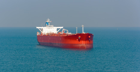 Tanker at anchor in the Strait of Singapore