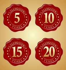 Vector Set of Anniversary Red Wax Seal  5th, 10th, 15th, 20th