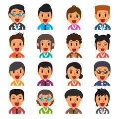 Set of business people avatars