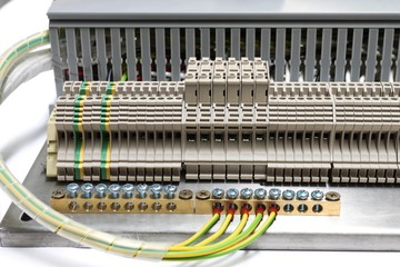 Closeup of measurement connectivity at terminal of Electrical control panel