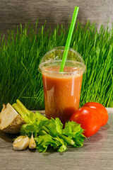 Tomato and celery fresh juice with garlic.