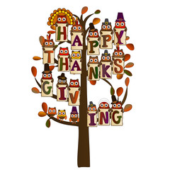 happy thanksgiving on a tree with leaves