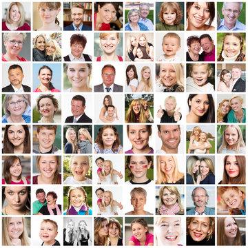 Collage aus vielen verschiedenen Menschen