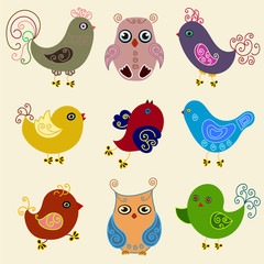 set of nine funny cartoon birds, decorated with swirls, colorful