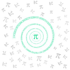 Pi spiral on white background