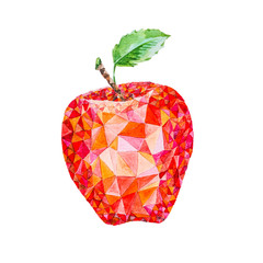 Low poly watercolor apple
