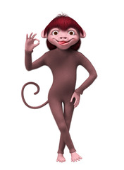 Monkey smiling and showing OK sign isolated 3d rendering