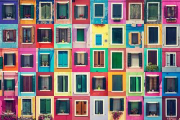 Fototapeta Abstract colorful windows on the island of Burano Venice Italy
