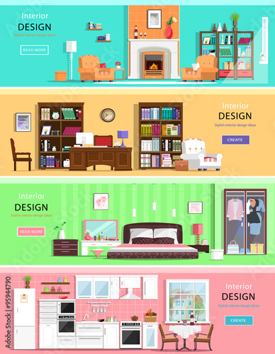 Set of colorful vector interior design house rooms with furniture icons:  living room, bedroom