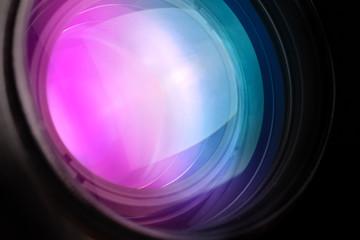 Photo camera telephoto lens front glass