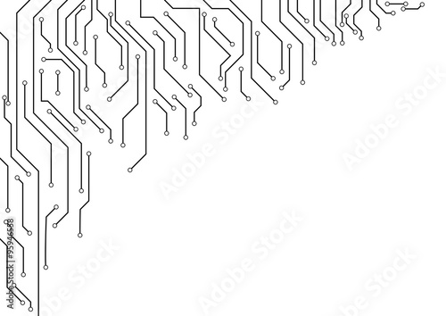 Vector : Electronic circuit border on white background\