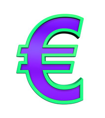 Euro sign from violet glass with green frame alphabet set, isolated on white. Computer generated 3D photo rendering.