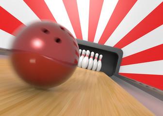 Bowling ball and pins closeup