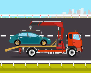 Tow truck driven on the road back to the city broken car. Vector illustration
