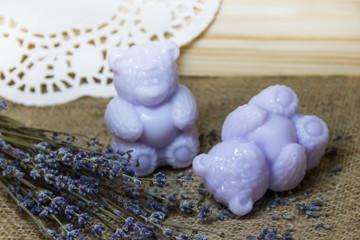 The interior of the spa, lavender soap.