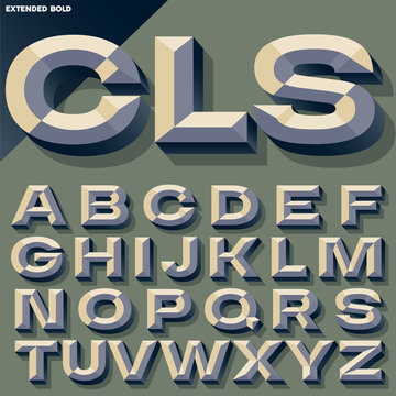 Vector illustration of old school bold beveled alphabet. Simple colored version
