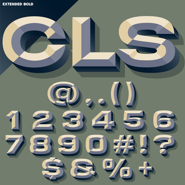 Vector set of old school bold beveled numbers and symbols. Simple colored version