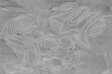 The image of a monkey, symbol of the new 2016 year , imitation of a geoglyph