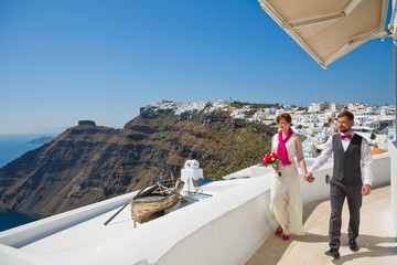 Young wedding couple  on Santorini