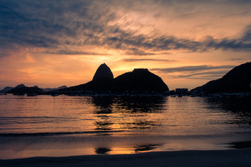 Wall Mural - Botafogo Beach and Sugarloaf Mountain by Sunrise in Rio de Janeiro