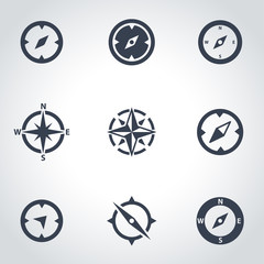 Vector black compass icon set. Compass Icon Object, Compass Icon Picture, Compass Icon Image - stock vector