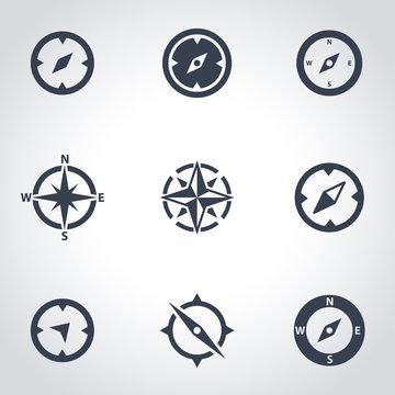 Vector black compass icon set. Compass Icon Object, Compass Icon Picture, Compass Icon Image - stock vector