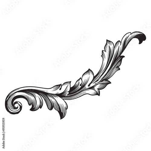 Quot vintage baroque frame scroll ornament engraving border