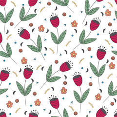 Cute bellflowers seamless pattern. Vintage background. Red flat flowers isolated on white. Floral texture. Summer backdrop. Vector illustration.