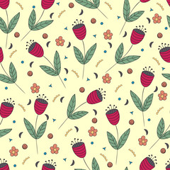 Cute bellflowers seamless pattern. Vintage yellow background. Red flat flowers. Floral texture. Summer backdrop. Vector illustration.