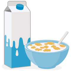 Vector illustration of a bowl of corn flakes cereal and a carton of milk.