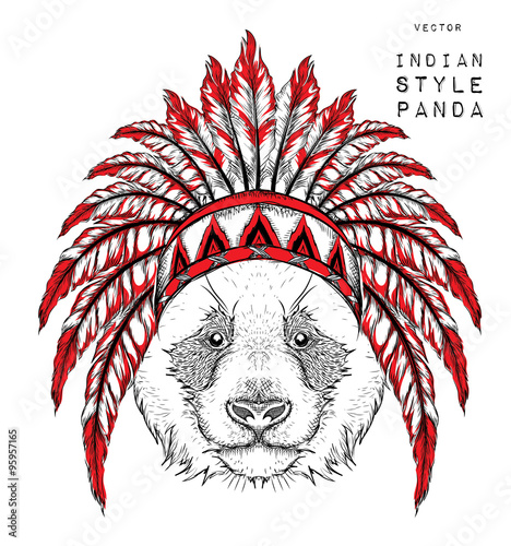 Panda in the Indian roach  Indian feather headdress of eagle