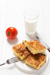 Homemade cheese pie.