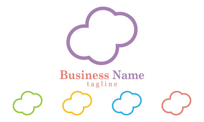 Cloud Icon Logo Vector With Five Colors Options
