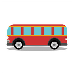Retro city bus on a white background