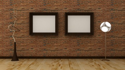 Empty picture frames in classic interior background on the decorative brik wall with wooden floor. Copy space image. 3d render