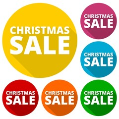 Christmas sale icons set with long shadow