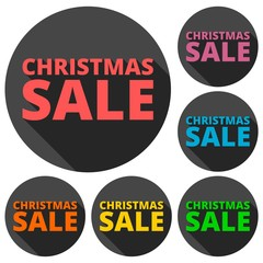 Christmas sale icons set with long shadow